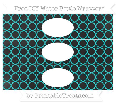Free Aqua Blue Quatrefoil Pattern Chalk Style DIY Water Bottle Wrappers