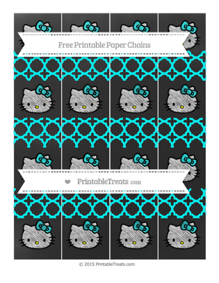 Free Aqua Blue Quatrefoil Pattern Chalk Style Hello Kitty Paper Chains