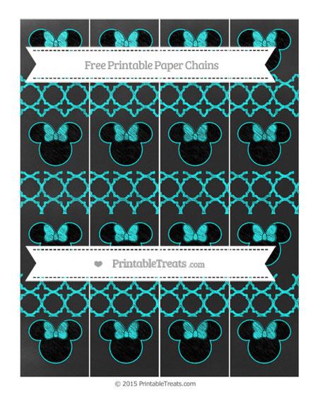 Free Aqua Blue Quatrefoil Pattern Chalk Style Minnie Mouse Paper Chains