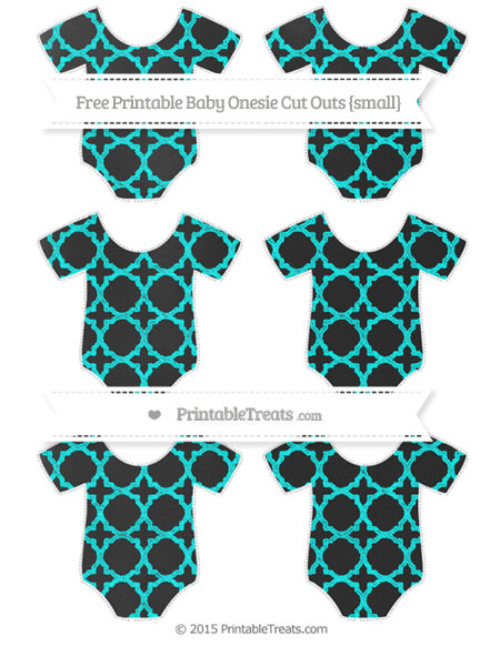 Free Aqua Blue Quatrefoil Pattern Chalk Style Small Baby Onesie Cut Outs