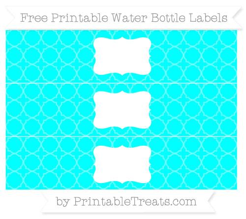 Free Aqua Blue Quatrefoil Pattern Water Bottle Labels
