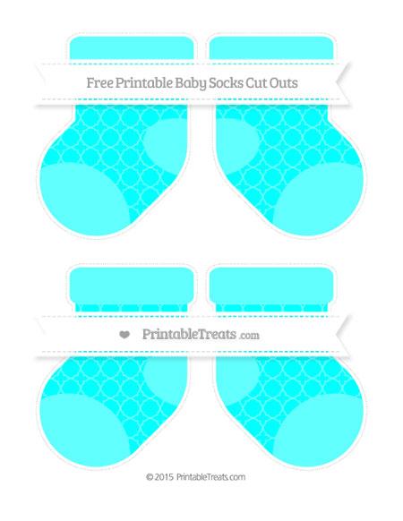 Free Aqua Blue Quatrefoil Pattern Medium Baby Socks Cut Outs