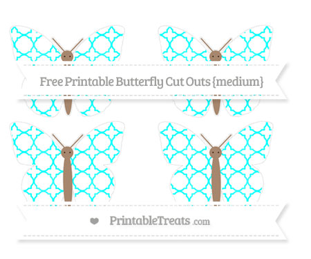 Free Aqua Blue Quatrefoil Pattern Medium Butterfly Cut Outs