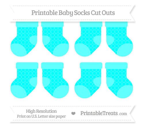 Free Aqua Blue Quatrefoil Pattern Small Baby Socks Cut Outs