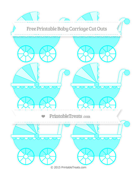 Free Aqua Blue Small Baby Carriage Cut Outs