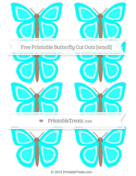 Free Aqua Blue Small Butterfly Cut Outs