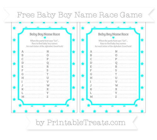 Free Aqua Blue Star Pattern Baby Boy Name Race Game