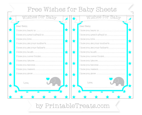 Free Aqua Blue Star Pattern Baby Elephant Wishes for Baby Sheets