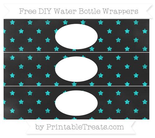 Free Aqua Blue Star Pattern Chalk Style DIY Water Bottle Wrappers