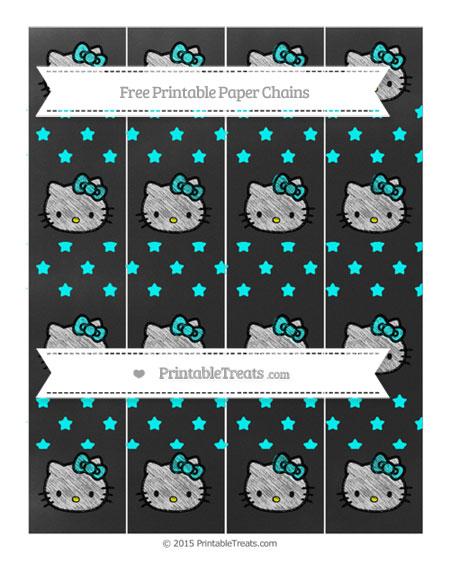 Free Aqua Blue Star Pattern Chalk Style Hello Kitty Paper Chains