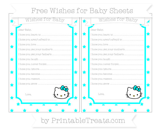 Free Aqua Blue Star Pattern Hello Kitty Wishes for Baby Sheets