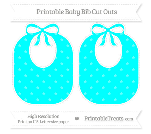 Free Aqua Blue Star Pattern Large Baby Bib Cut Outs