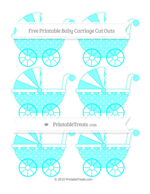 Free Aqua Blue Star Pattern Small Baby Carriage Cut Outs