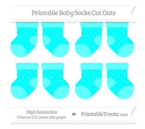 Free Aqua Blue Star Pattern Small Baby Socks Cut Outs