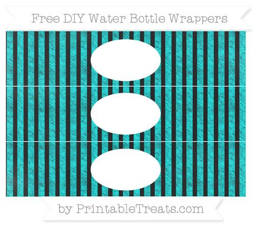 Free Aqua Blue Striped Chalk Style DIY Water Bottle Wrappers