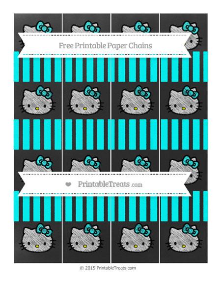 Free Aqua Blue Striped Chalk Style Hello Kitty Paper Chains