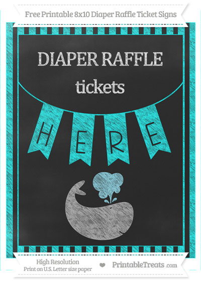 Free Aqua Blue Striped Chalk Style Whale 8x10 Diaper Raffle Ticket Sign