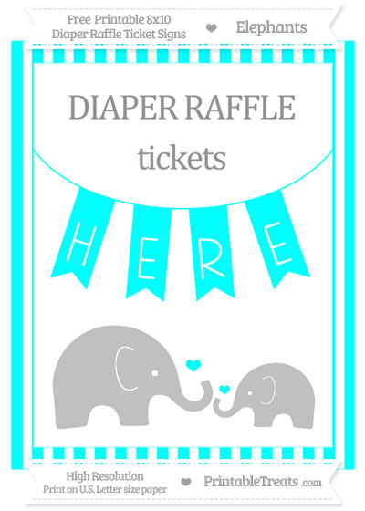 Free Aqua Blue Striped Elephant 8x10 Diaper Raffle Ticket Sign