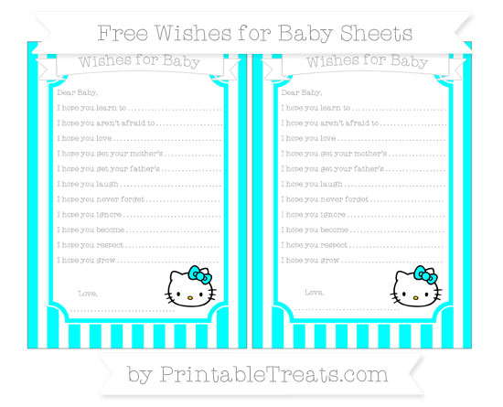 Free Aqua Blue Striped Hello Kitty Wishes for Baby Sheets