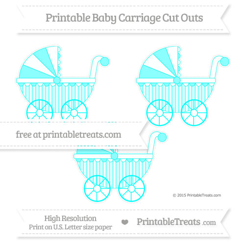 Free Aqua Blue Striped Medium Baby Carriage Cut Outs