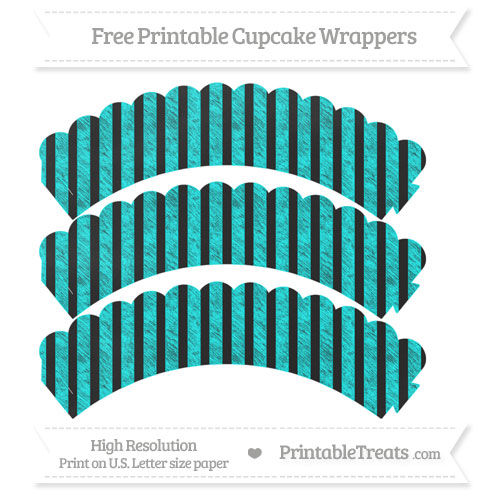 Free Aqua Blue Striped Pattern Chalk Style Scalloped Cupcake Wrappers