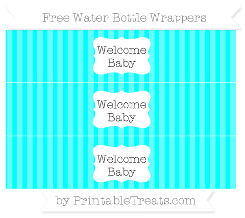 Free Aqua Blue Striped Welcome Baby Water Bottle Wrappers