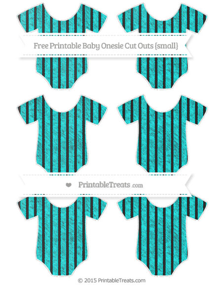 Free Aqua Blue Thin Striped Pattern Chalk Style Small Baby Onesie Cut Outs