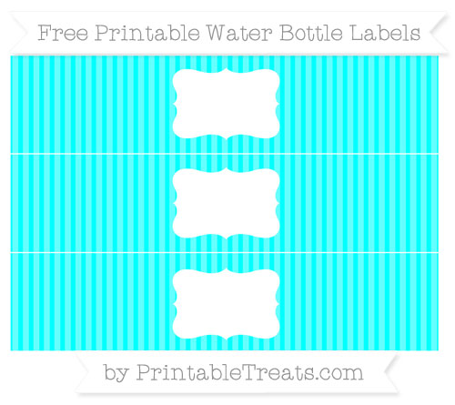 Free Aqua Blue Thin Striped Pattern Water Bottle Labels