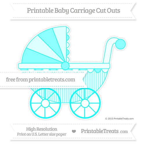 Free Aqua Blue Thin Striped Pattern Extra Large Baby Carriage Cut Outs