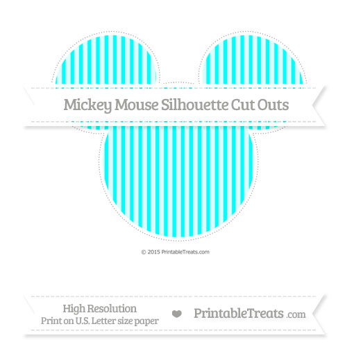 Free Aqua Blue Thin Striped Pattern Extra Large Mickey Mouse Silhouette Cut Outs