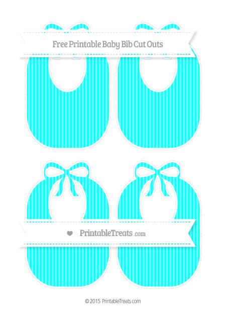 Free Aqua Blue Thin Striped Pattern Medium Baby Bib Cut Outs