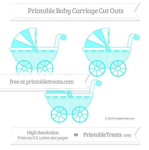 Free Aqua Blue Thin Striped Pattern Medium Baby Carriage Cut Outs