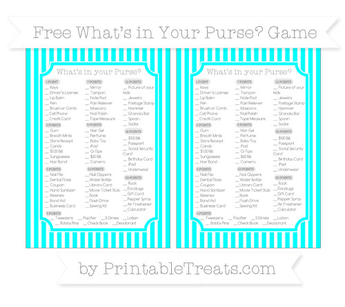 Free Aqua Blue Thin Striped Pattern What's in Your Purse Baby Shower Game