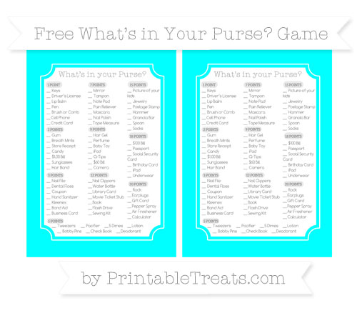 Free Aqua Blue What's in Your Purse Baby Shower Game