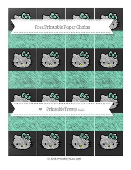 Free Aquamarine Chalk Style Hello Kitty Paper Chains