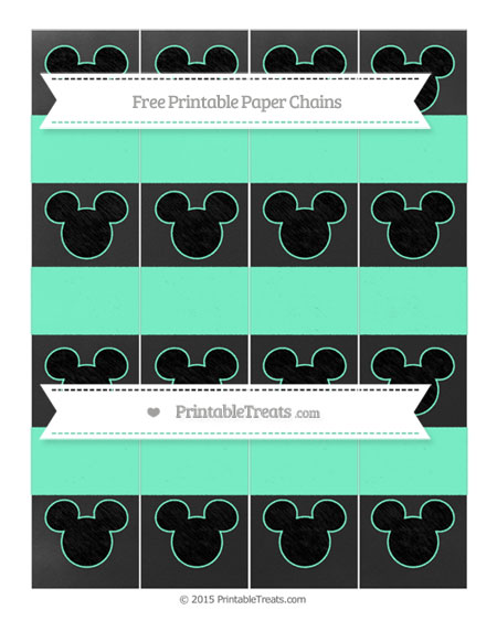 Free Aquamarine Chalk Style Mickey Mouse Paper Chains