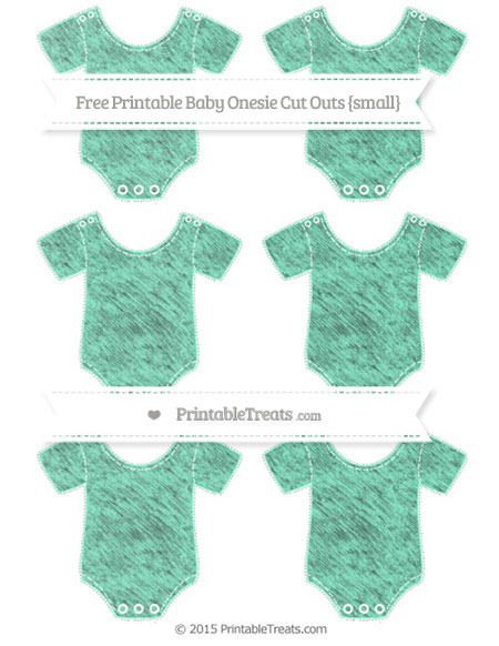 Free Aquamarine Chalk Style Small Baby Onesie Cut Outs
