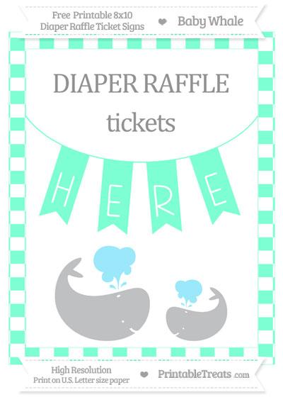 Free Aquamarine Checker Pattern Baby Whale 8x10 Diaper Raffle Ticket Sign