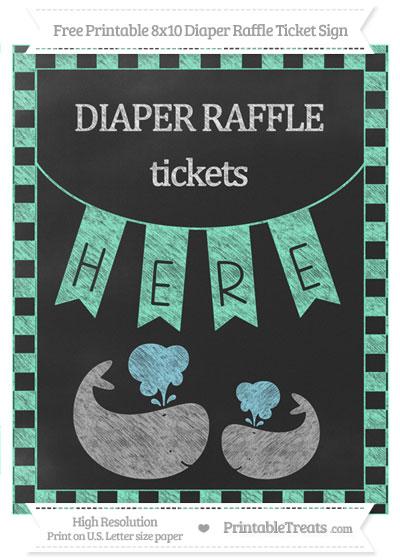 Free Aquamarine Checker Pattern Chalk Style Baby Whale 8x10 Diaper Raffle Ticket Sign
