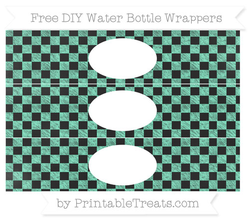 Free Aquamarine Checker Pattern Chalk Style DIY Water Bottle Wrappers