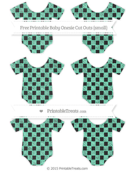 Free Aquamarine Checker Pattern Chalk Style Small Baby Onesie Cut Outs