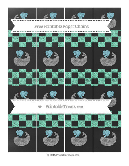 Free Aquamarine Checker Pattern Chalk Style Whale Paper Chains