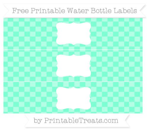 Free Aquamarine Checker Pattern Water Bottle Labels