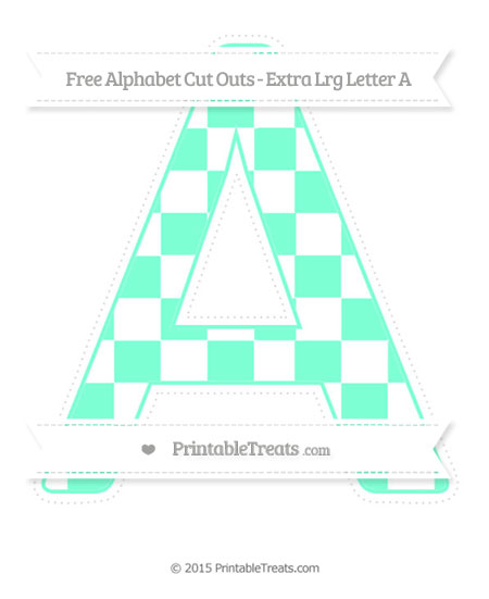 Free Aquamarine Checker Pattern Extra Large Capital Letter A Cut Outs