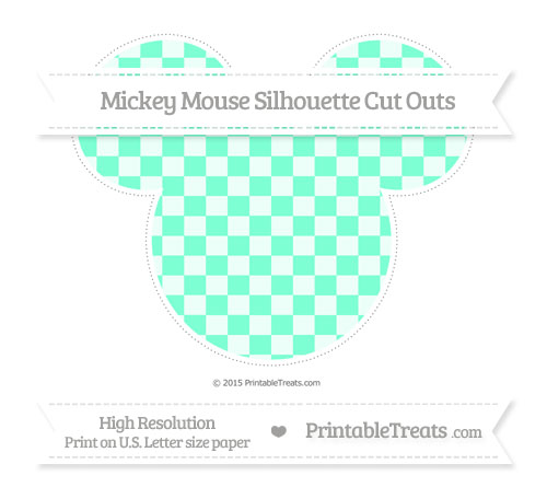Free Aquamarine Checker Pattern Extra Large Mickey Mouse Silhouette Cut Outs