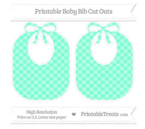 Free Aquamarine Checker Pattern Large Baby Bib Cut Outs