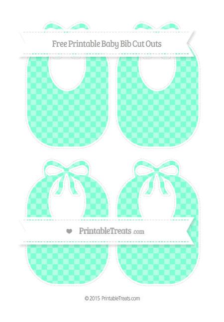 Free Aquamarine Checker Pattern Medium Baby Bib Cut Outs