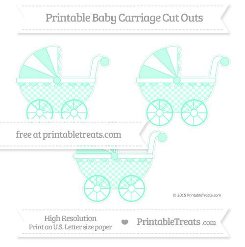Free Aquamarine Checker Pattern Medium Baby Carriage Cut Outs