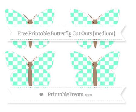 Free Aquamarine Checker Pattern Medium Butterfly Cut Outs