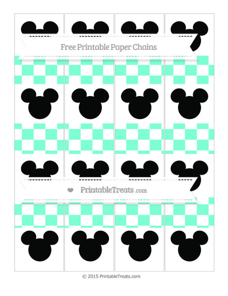 Free Aquamarine Checker Pattern Mickey Mouse Paper Chains